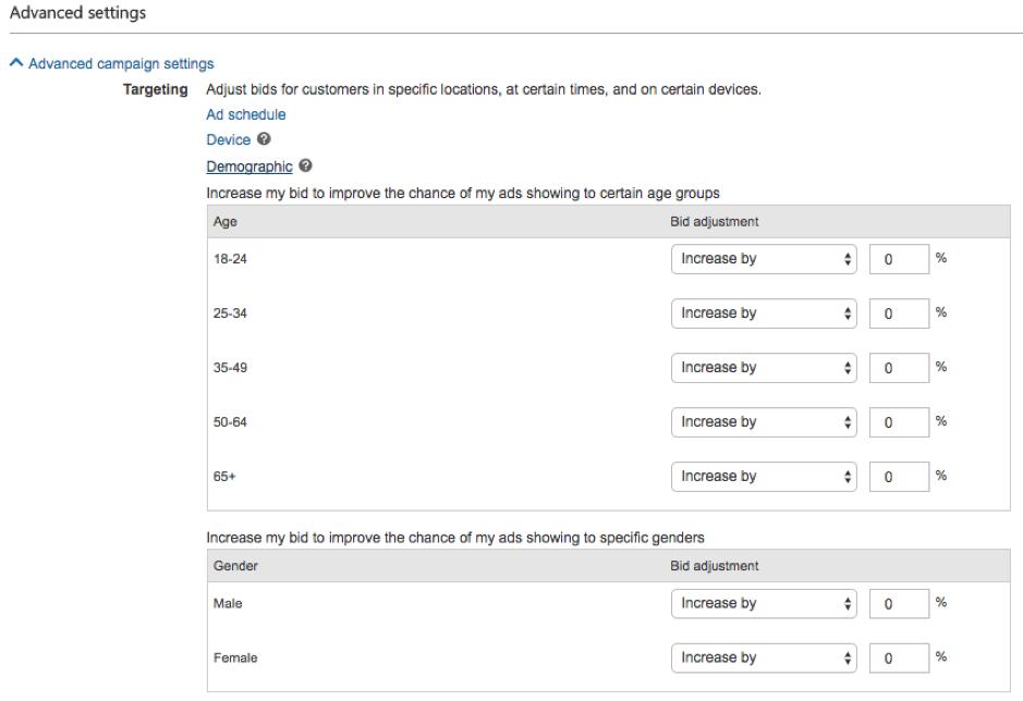 Bing Ads Demografische Targetting