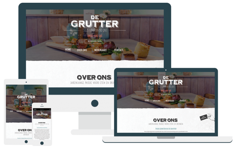 De Grutter website in een Mockup