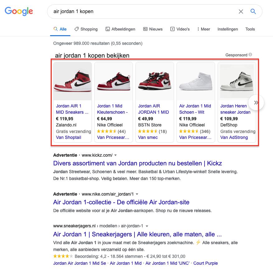 Voorbeeld Google Shooping advertentie