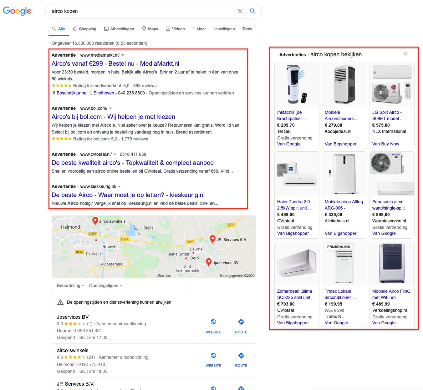 Voorbeeld advertentiemogelijkheden google