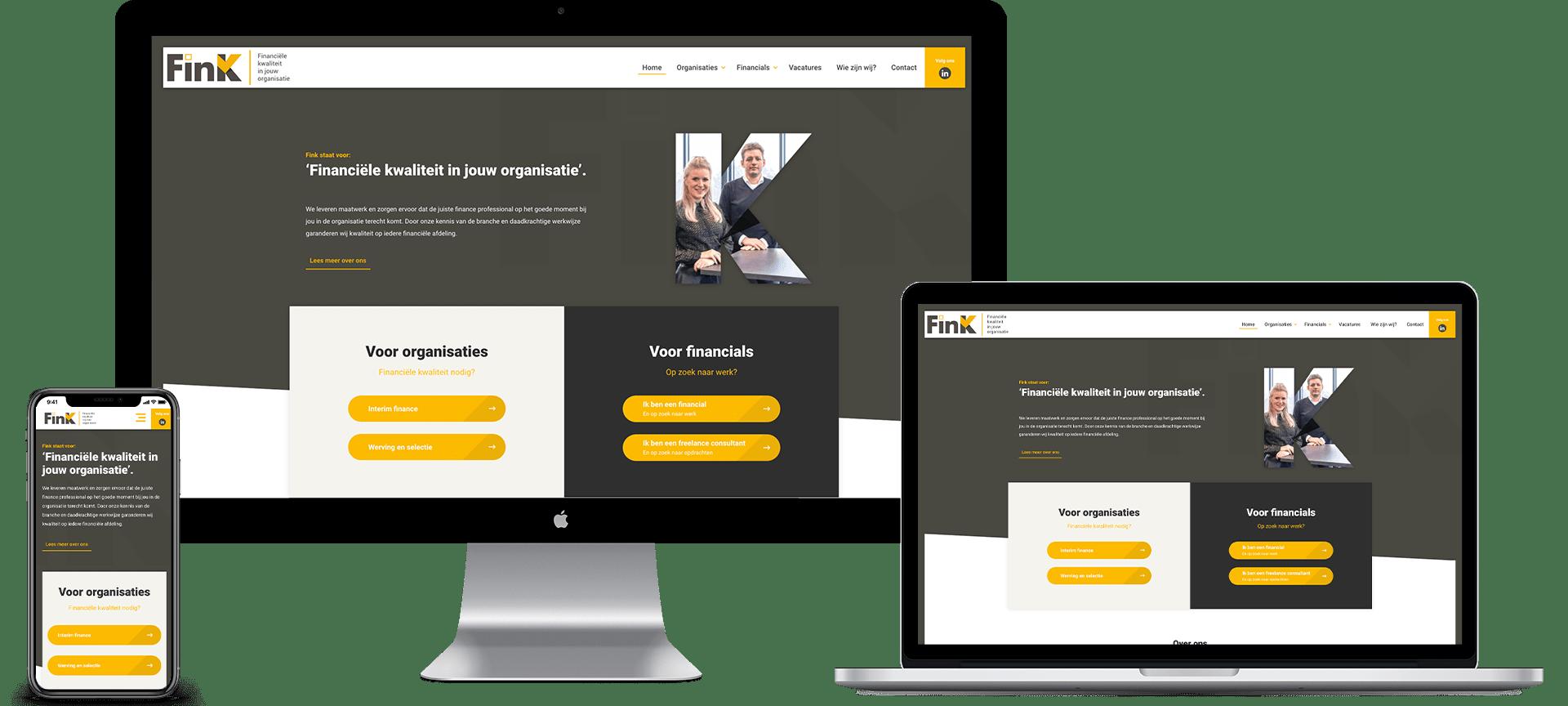 Mock-ups op iMac, Macbook en iPhone van de homepage van de nieuwe FinK website over financiële kwaliteit.