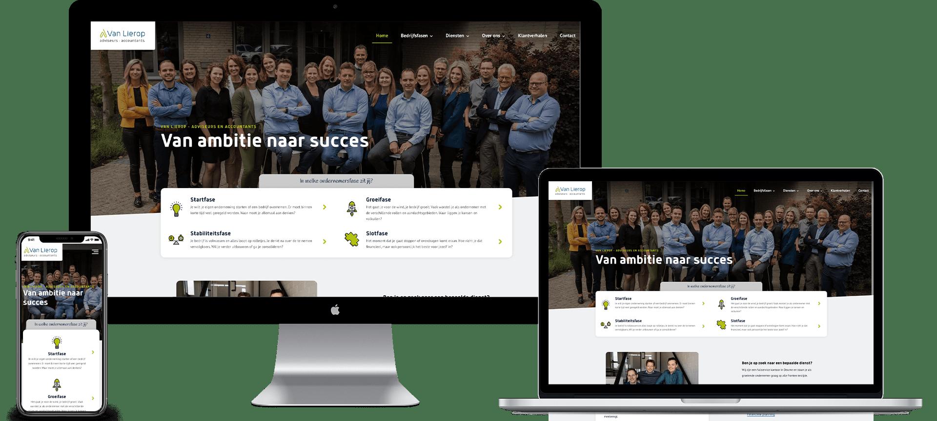 Mock-up van de homepage van de nieuwe website voor Van Lierop Advies op iMac, Macbook en iPhone.