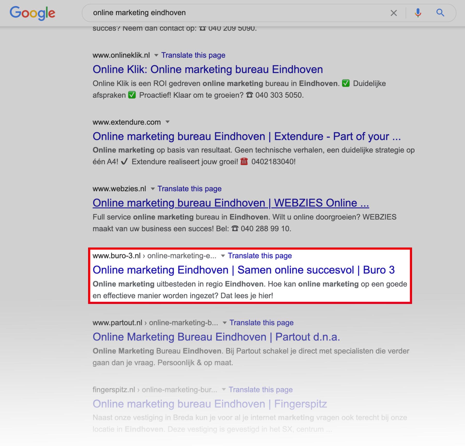 Voorbeeld SERP online marketing eindhoven