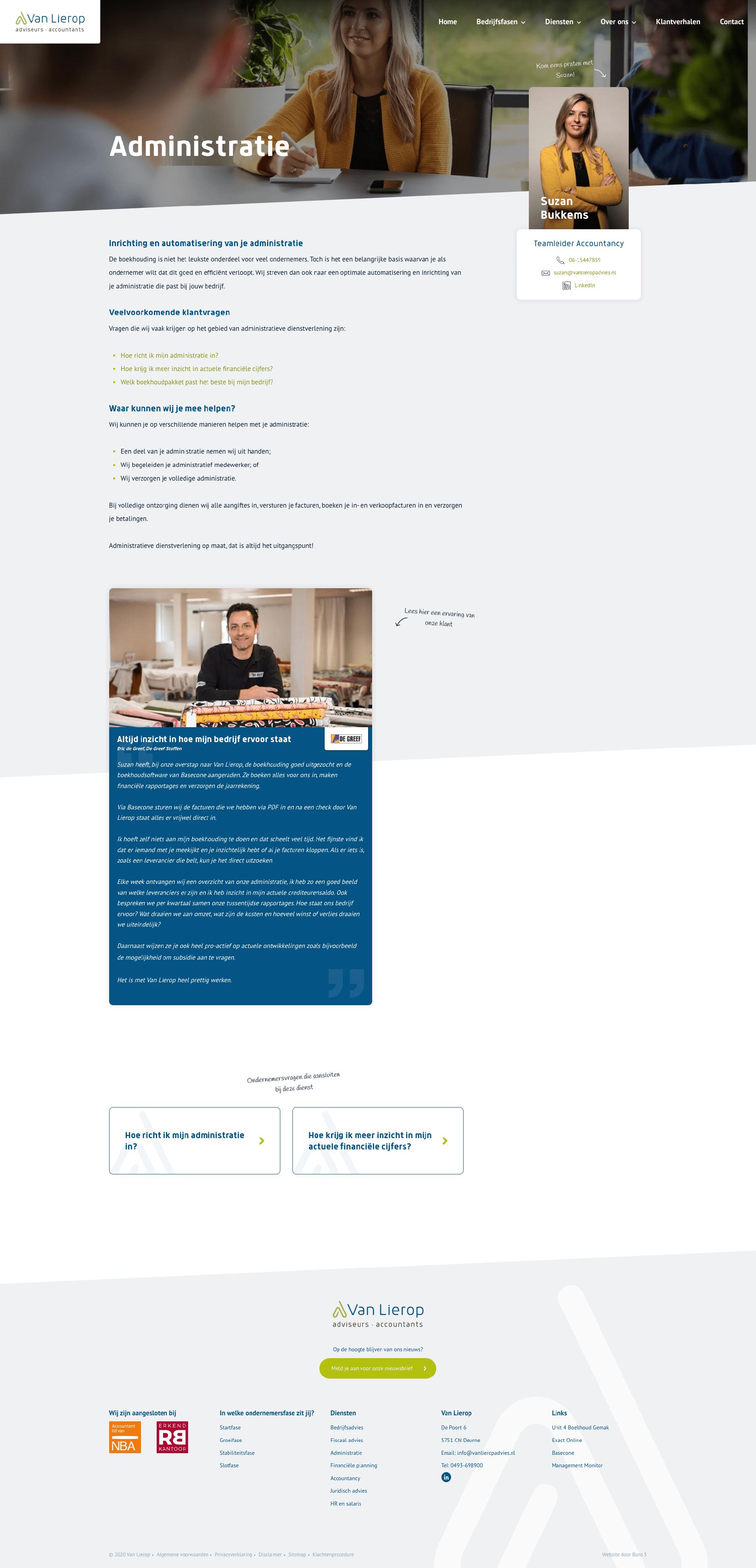 Administratie pagina van de nieuwe website voor Van Lierop Advies.