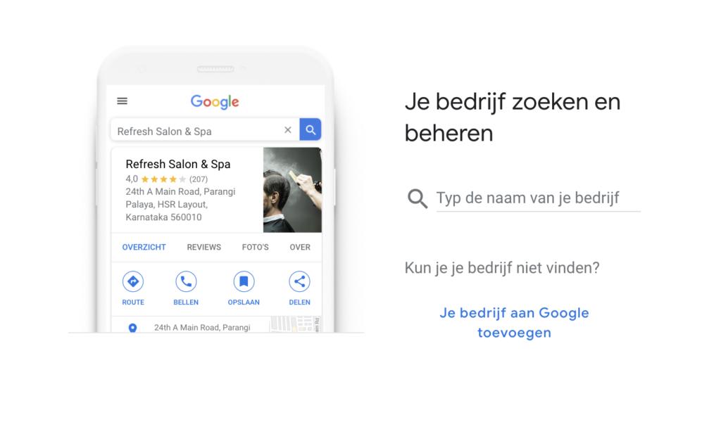 bedrijf toevoegen op Google mijn bedrijf