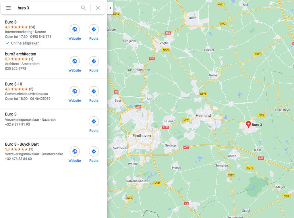 buro 3 zichtbaar op google maps